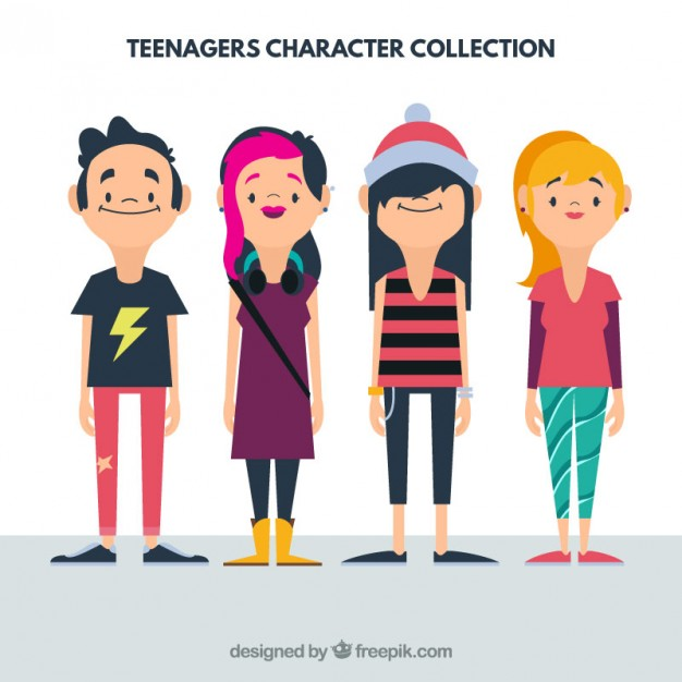 626x626 Flat Teenager Collection Vector Free Download