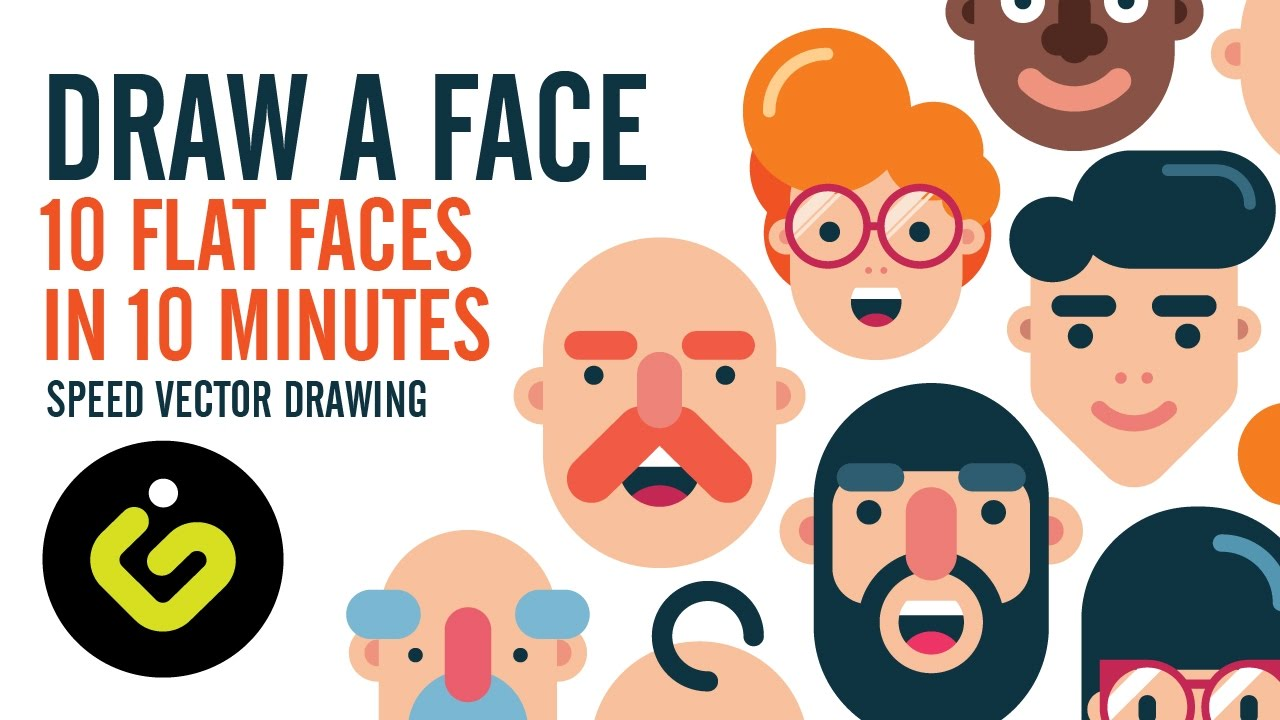 1280x720 How To Draw A Face, 10 Flat Design Characters In 10 Minutes, Speed