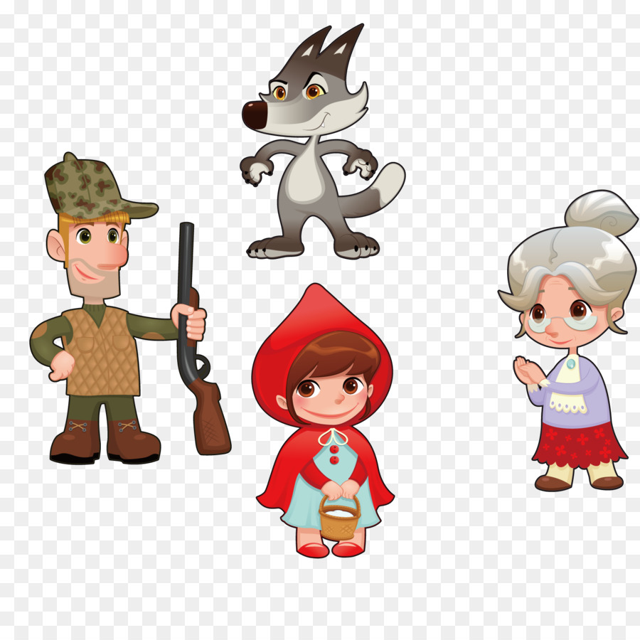 900x900 Little Red Riding Hood Cartoon Character Illustration