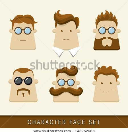 450x470 Men Character Icons. Vector Illustration