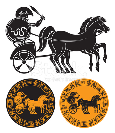 381x440 Chariot With Gladiator Stock Vector