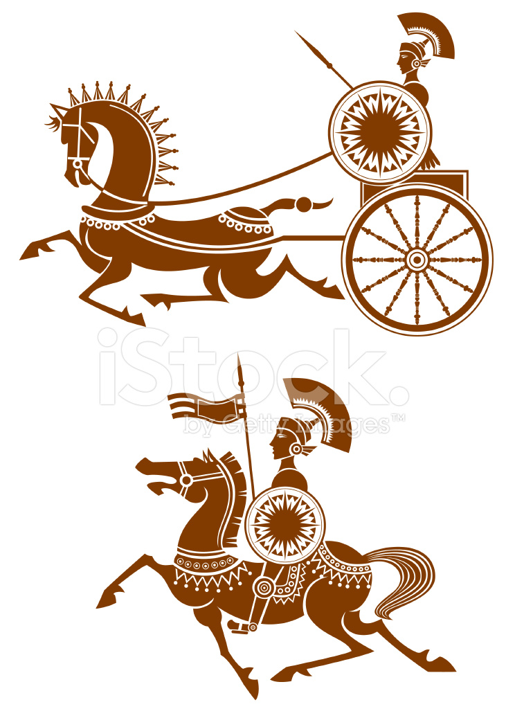 731x1024 Ancient Cavalry And Chariot Stock Vector