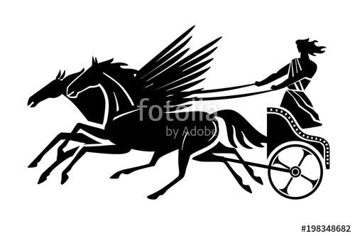 500x332 Greek Flying Chariot Silhouette. Vector Drawing Stock Image And