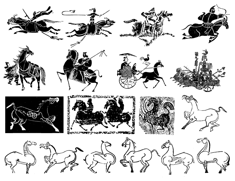 800x616 The Ancient Chinese War Horse And Chariot Vector Material