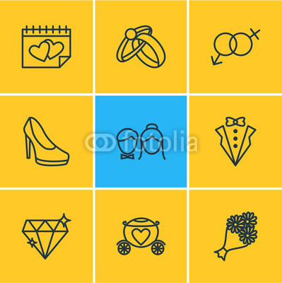 399x400 Vector Illustration Of 9 Marriage Icons. Editable Pack Of