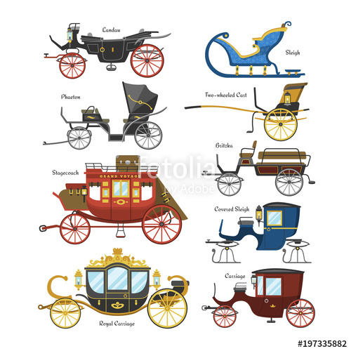 500x500 Carriage Vector Vintage Transport With Old Wheels And Antique