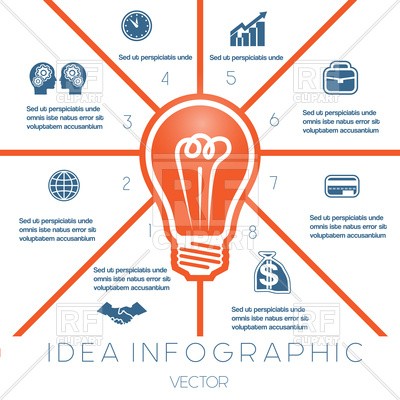 400x400 Infographics Template On Eight Positions Possible To Use For