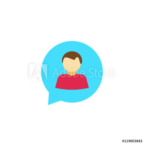 500x500 Person Chat Icon Vector Isolated On White, Flat Abstract Man