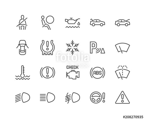 500x414 Simple Set Of Car Dashboard Related Vector Line Icons. Contains