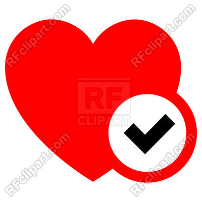 400x400 Heart Red Icon With Black Check Isolated On White Background