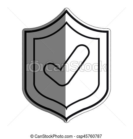 450x470 Shield With Check Mark Icon Over White Background. Vector