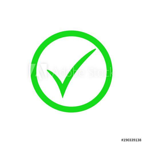 500x500 Green Check Mark Icon. Vector Checkmark Button. Tick Symbol