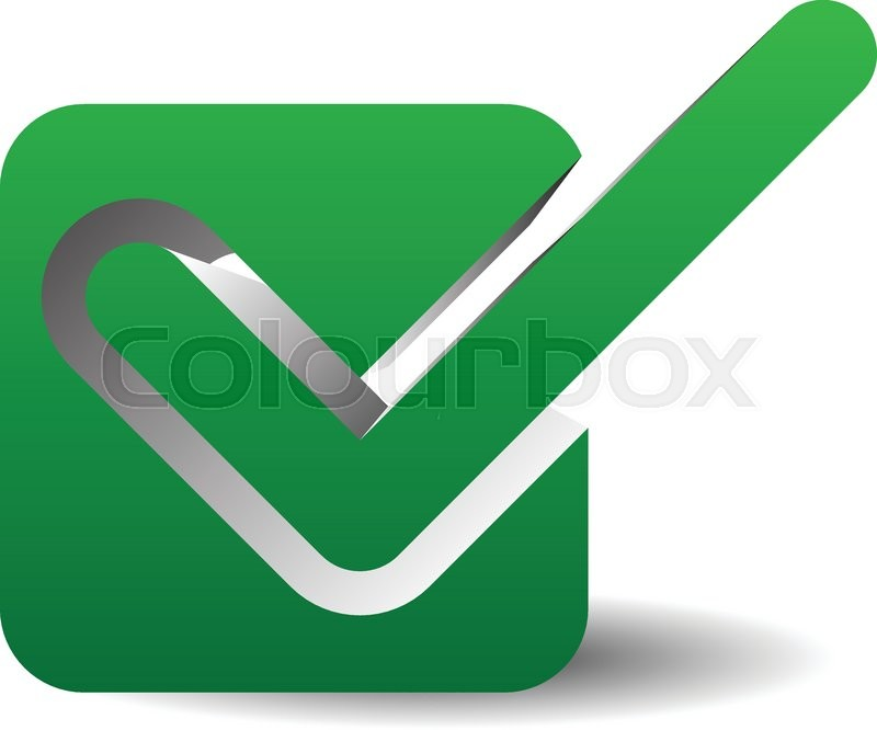 800x666 Green Check Mark Over Square. Tick Symbol, Icon. Stock Vector