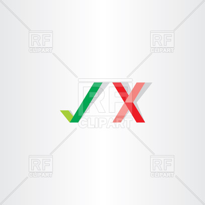 400x400 Green Red Checkmark Yes No Icon Vector Image Vector Artwork Of