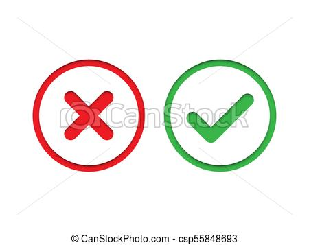 450x357 Red And Green Check Mark Set. Vector Check Mark Icons. Red And