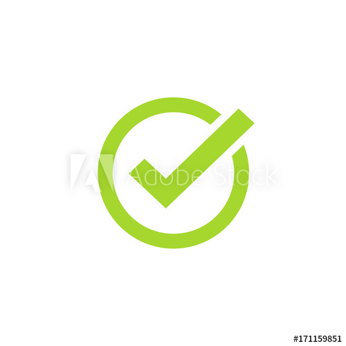 500x500 Tick Icon Vector Symbol, Green Checkmark Isolated On White
