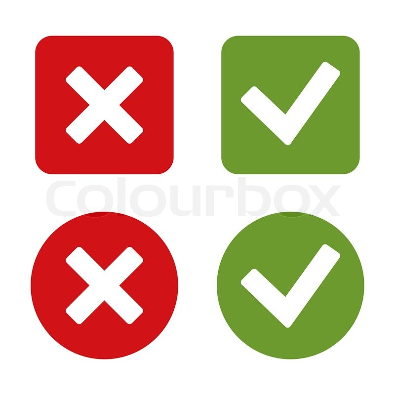 800x800 Check Mark Stickers And Buttons. Red And Green. Vector