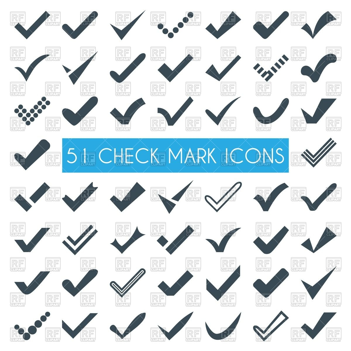 1200x1200 Set Of Different Check Marks Or Ticks Vector Image Vector