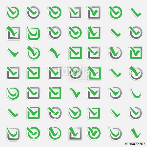 500x500 Checkbox Vote Marks Vector Icons Set. Check Vote Sign Choice Yes