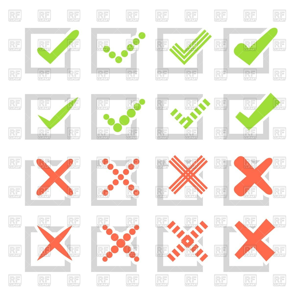 1200x1200 Checkmarks Or Ticks And Crosses In Checkbox Vector Image Vector