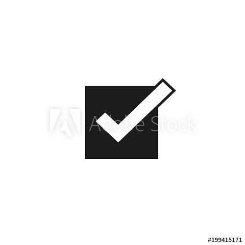 500x500 Tick Icon Vector Symbol, Checkmark Isolated On White Background