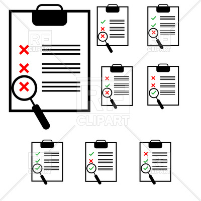 400x400 Clipboard Set With Marks And Checklist Vector Image Vector