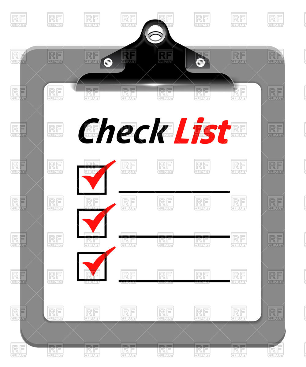 1000x1200 Clipboard With Checklist Vector Image Vector Artwork Of Objects