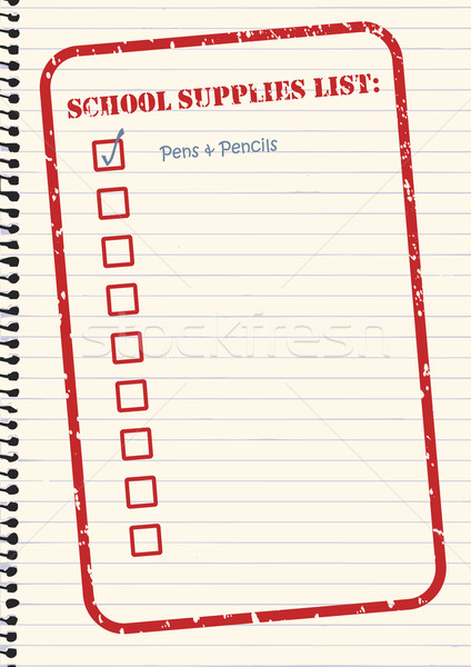 424x600 School Supplies Checklist Vector Vector Illustration Tim Hester
