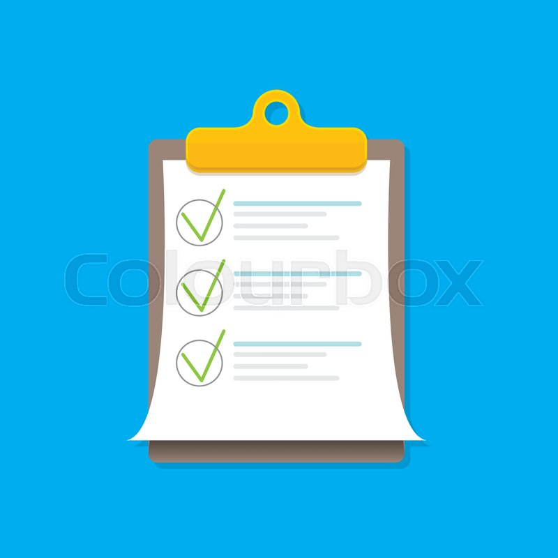 800x800 Vector Clipboard Icon With Green Checkmarks On Blue Background