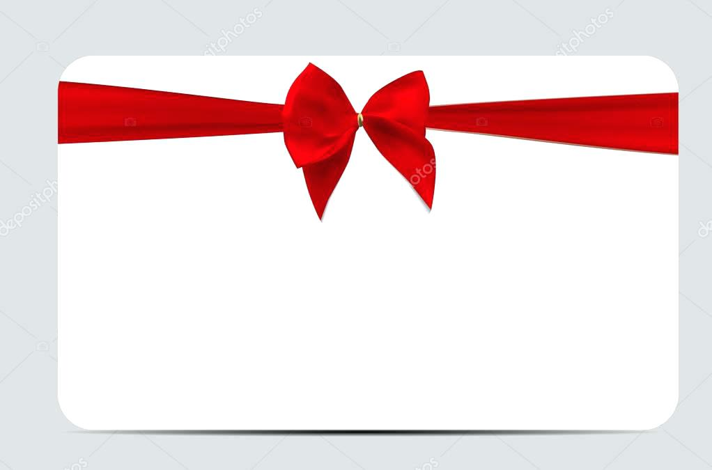 1022x675 Gift Card Template With Red Silk Ribbon And Bow Vector Stock How