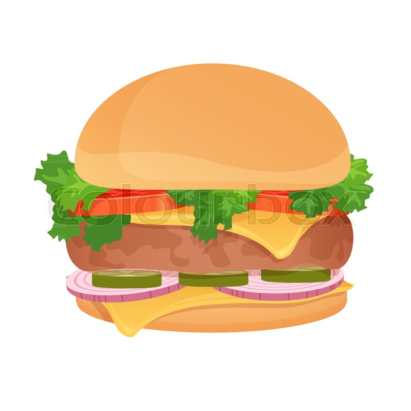 800x800 Vector Hamburger. Classic Burger. American Food. Fast Food