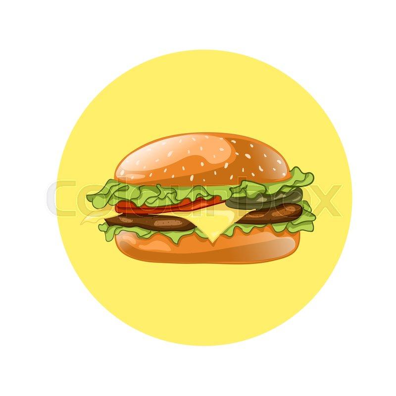 800x800 Burger. Cheeseburger Vector Illustration. Hamburger Icon. Fast