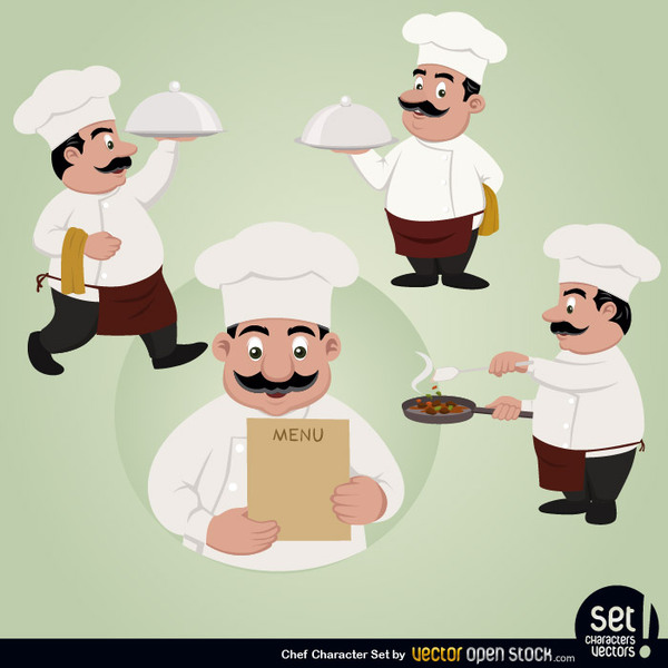 600x600 Free Vector Chef Character Set