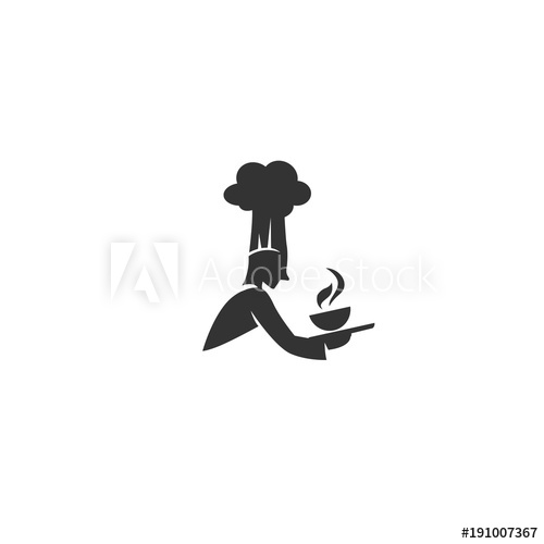500x500 Black Chef With Hat And Hot Soup Bowl Logo Vector Illustration