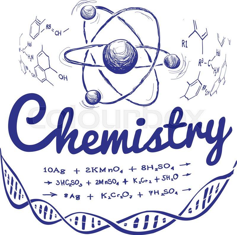 800x794 Hand Drawn Chemistry Vector Illustration On White Background