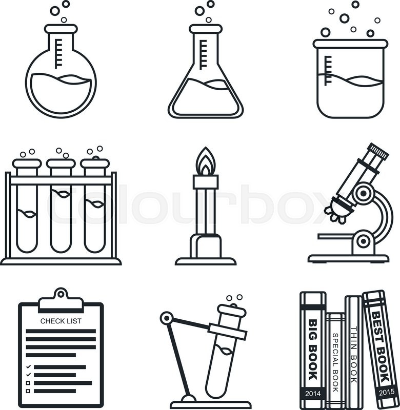 780x800 Black Lineart Icon Set. Chemistry Vector Icons. Science. Vector