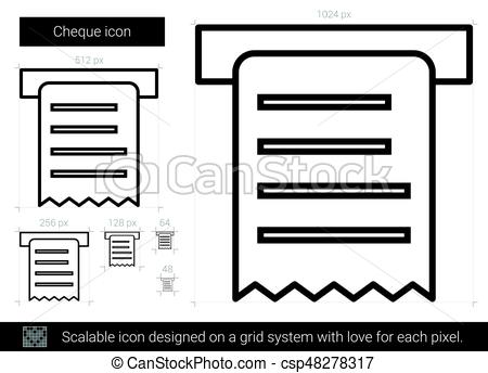 450x344 Cheque Line Icon. Cheque Vector Line Icon Isolated On White
