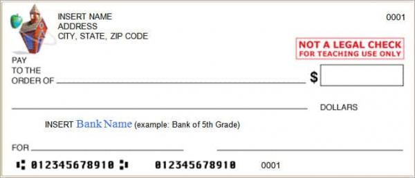 600x258 Mock Cheque Vector Download