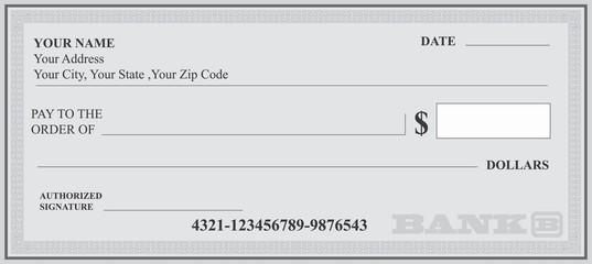 537x240 Bank Check, Bank Cheque Vector
