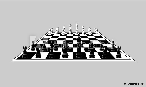 500x300 Chess Black And White Pieces On The Chess Board. Vector