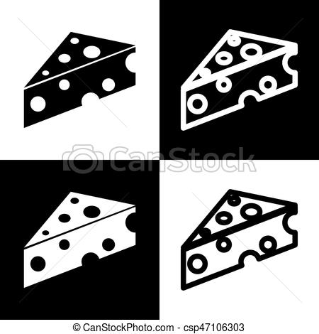 450x470 Cheese Maasdam Sign. Vector. Black And White Icons And Line Icon