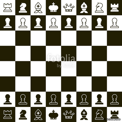 500x500 Chess Board. Vector Top View Chess Pieces. Stock Image And