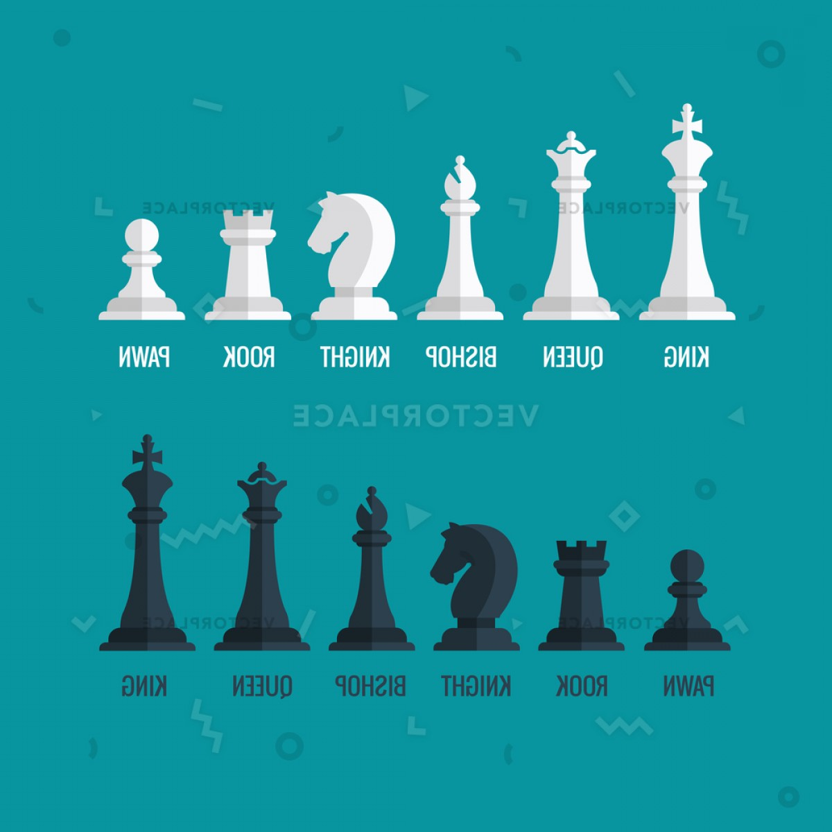 1200x1200 Chess Pieces King Queen Bishop Knight Vector Illustration