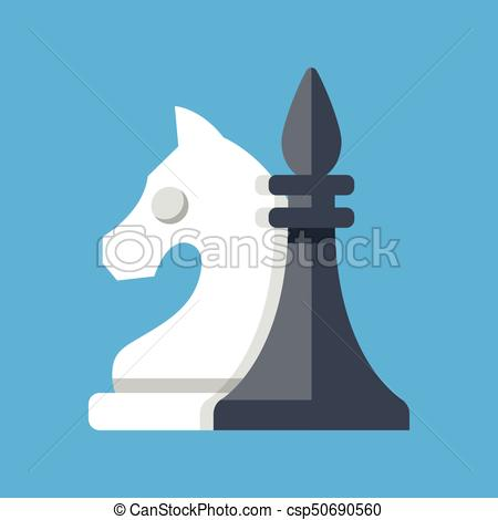 450x470 Chess Pieces. White Knight And Black Bishop. Vector Illustration.