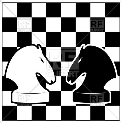 398x400 Black And White Chess Board With Two Knights Vector Image Vector