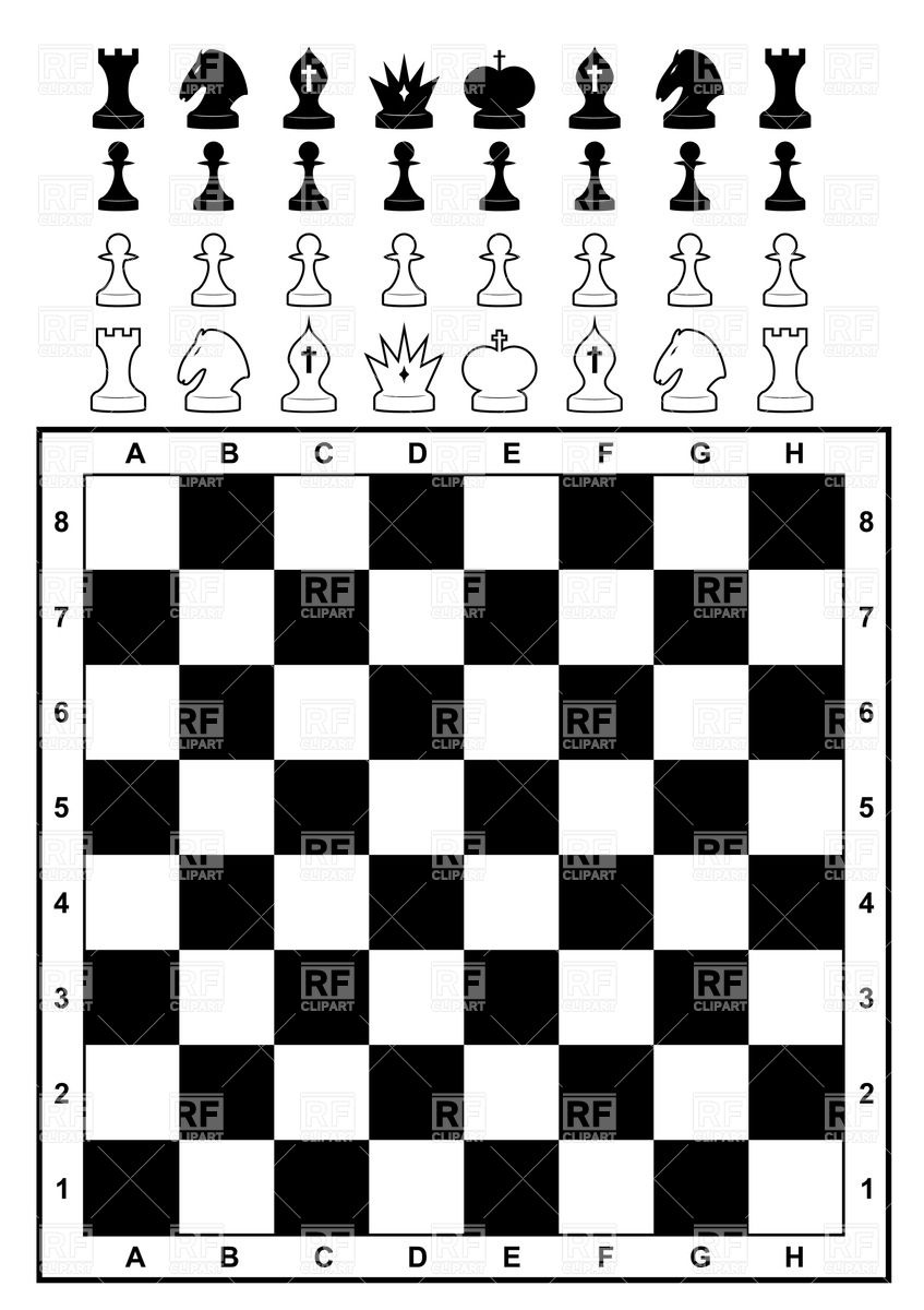 847x1200 Chessboard With Set Of Chess Vector Image Vector Artwork Of