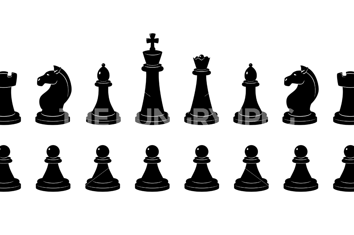 1160x772 Silhouette Of Chess. Vector Monochrome Illustrations Isolate By