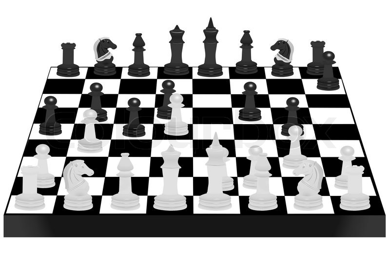 800x530 Vector Illustration Of Chess Desk Under The White Background