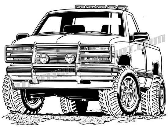 550x422 92 Chevy 4x4 Vector Clipart, Buy Two Images Get One Image Free