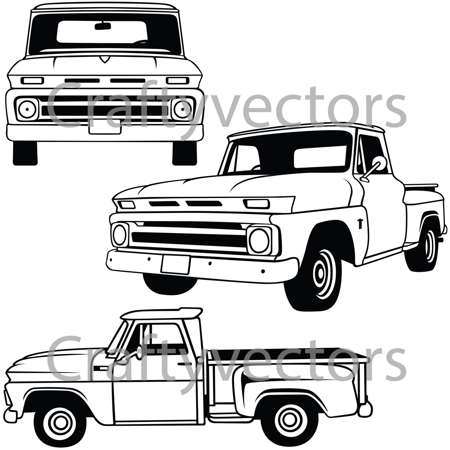 1500x1500 Chevy C10 Stepside Vector File